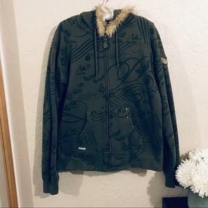 Volcom sweater with faux fur hoodie size XL